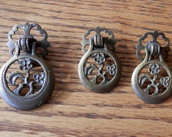 3 antique cast brass metal teardrop pulls, 2 small, and 1 larger, vintage