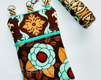 Brown Aqua Damask & Floral Phone Case with Wristlet Zipper Top Closure Optional Shoulder Strap Cross Body