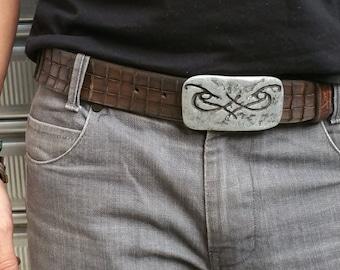 Men's Fashion, Crafted Belt, Brown Men's Belt, Buckle Belt, Genuine Leather, Elegant Leather, Intricate Design, Unique Buckle, Men's Belt