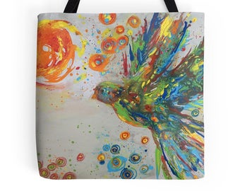 The Colors of Peace Dove Original Art  L, M or S Tote Bag, Printed on Both Sides!