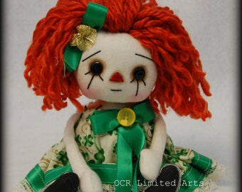 Folk Art Primitive ST Paddy's Day Raggedy DoLL  Maureen Annie button eyes collectible OOAK