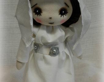 Princess Leia inspired Star Wars Art doll cute Fantasy button eye  Gift Handmade OOAK Collectible  OCR White Alderaan gown