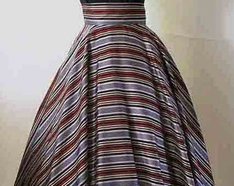 Dramatic 1950's Silk Satin Striped Full Circle Skirt with Wide Waistband Vintage Cocktail Skirt Rockabilly VLV Pinup Girl Size Medium