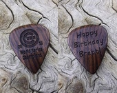 Custom Order - Handmade Mun Ebony Laser Engraved Premium Wood Guitar Pick