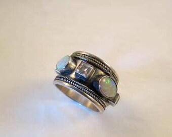 Artisan Sterling Opal & Rhinestone Wide Band Ring