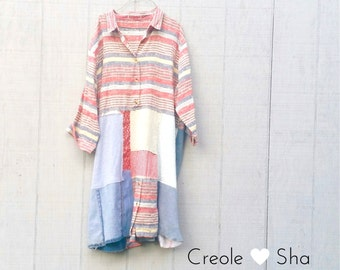 Upcycled Dress, Refashioned Patchwork Dress, Cotton Linen Funky Upcycled Tunic for Winter by CreoleSha
