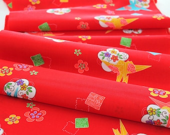 Vintage Japanese Kimono Fabric bright red Origami Crane plum blossom cloud wool kimono fabric turquoise coral salmon orange purple fabric