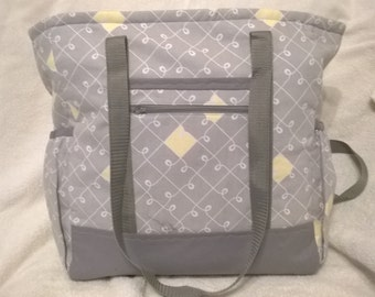 Gray and Yellow Geometric Patterned Diaper Bag, Toddler Bag, Overnight Bag