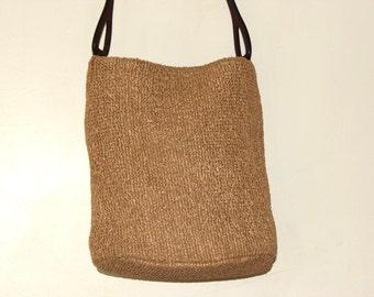 Woven Hobo International Handbag Flat Bottom Heavy Leather Strap Closure - Vintage 10.5L x 8W inches