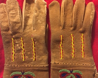 Plains style braintan buckskin beaded gloves