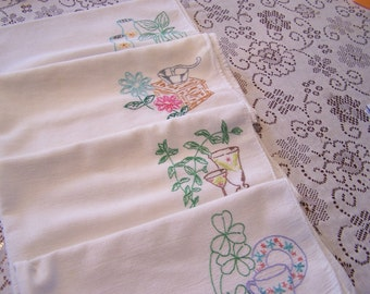 Vintage Embroidered Dish Drying Towels, Tea Towel, Flour Sack Towels, Farm Style, Rustic Kitchen, Soft Cotton Towels