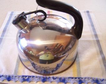Vintage Revere Ware Tea Kettle, Stainless Steel, Chrome, Copper Bottom, Whistle, Revereware Cookware, 60s-70s