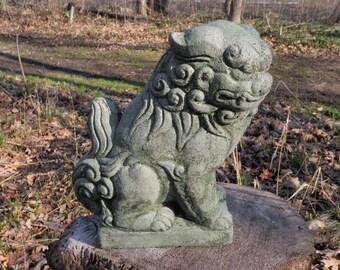 """Cement 10"""" Tall Chinese Foo Dog Garden Art Statue Green Concrete Asian"""