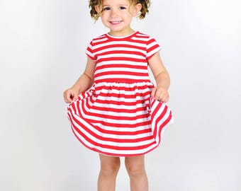 Play Dress | Red Stripes | Sizes 3 Months to 7/8 | 2 Sleeve Options | girls dress, baby girl dress, striped dress