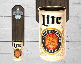Miller Lite Wall Mounted Bottle Opener with Vintage 10oz Beer Can Cap Catcher - Gift for Groomsmen