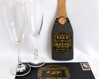 Cheers! - Champagne Bottle Save the Date - SAMPLE ONLY (Price is not full order per unit price, see description)