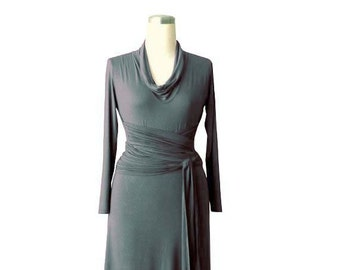 Day dress. Long sleeve dress. Grey dress. Dress with cowl neck and long belt. Women day dress. Womens clothing.