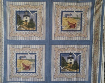 Lighthouse Fabric Panel by ©D.Morgan for Springs Industries~Free Continental US Shipping