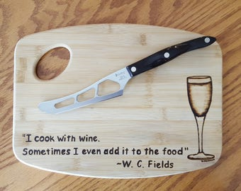 I Cook With Wine Bamboo Cutting Board
