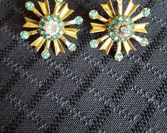 Vintage Gold and Turqouise 10k gold filled earrings