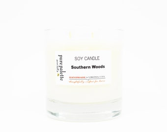 Southern Wooods Soy Candle in Whisky Glass Jar with Kraft Square Gift Box