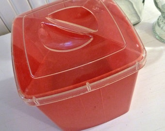 Vintage Red Plastic Canister Clear Lid Square PLAS-TEX