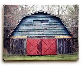 Old Barn Photo, Wood Plank Wall Art, Rustic Home Decor, Barn on Wood, Rustic Farmhouse Decor, Blue Barn on Wood, Wood Panel Art, Art on Wood
