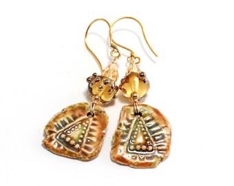 Gold Lampwork Bead Earrings. Rustic Ceramic Clay Charms. Small Dangle Earrings. Colorful Boho Rustic Earrings. Glass Bead Jewelry.
