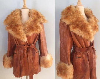 SALE 1970s leather and shearling wrap jacket / 70s cognac leather coat /