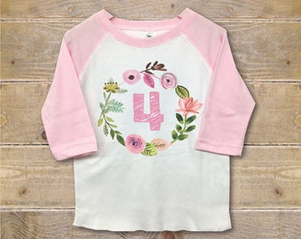Fourth Birthday Shirt, Four Shirt, Fourth Birthday Outfit, 4th Birthday Shirt, Girl's Clothes, Girl's Shirt, Trendy Shirt, Birthday Gift