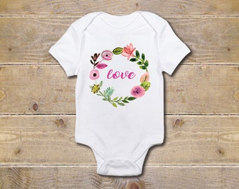 Love  Onesie, Love Onesie, Wreath, Wreath Onesie, Flowers, Baby Shower Gift,  Baby Clothes,New Baby Gift, Girl, First Mother's Day