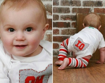 Ohio Baby bodysuit with OH front, IO back (on tush), handsewn and made from recycled t-shirts