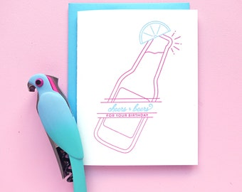 cheers and beers birthday letterpress card
