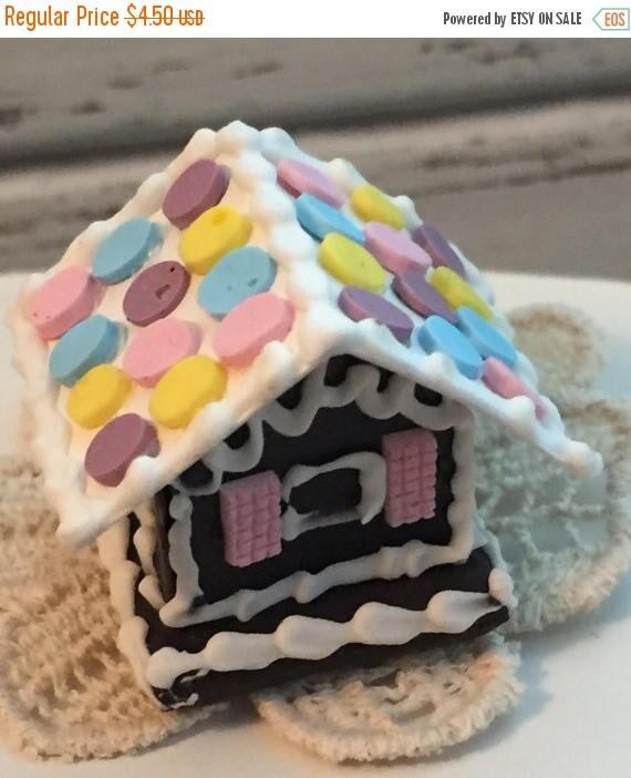 SALE Miniature Gingerbread House, Dollhouse Miniature, Christmas Holiday Decor, Dollhouse Accessory, Mini House by Timeless Miniatures