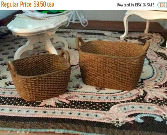 SALE Miniature Oblong Baskets, Set of 2, Dollhouse Miniatures, 1:12 Scale, Dollhouse, Fairy Garden Accessory, Oblong Resin Baskets