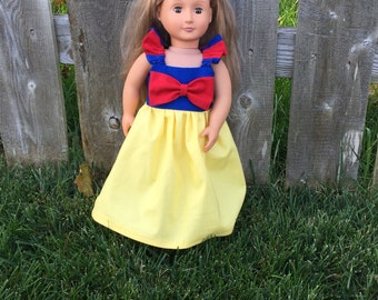 "18 inch Doll flutter snow white themed dress, fits 15-18"" doll, princess dolly dress"
