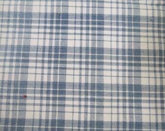 Vintage GERMAN Ticking Blue Check Woven Cotton Checkered Plaid Fabric
