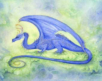 Dragon Art Original Watercolor Painting - Cobalt - fantasy. whimsical. blue. fairy tale. wings. water. earth.