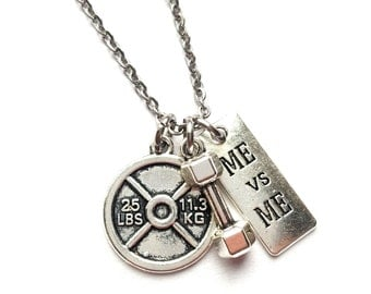 Fitness Necklace / Fitness Jewelry / Motivational Jewelry / Crossfit Jewelry / Bodybuilding / Barbell Charm Necklace / Fitness Girl