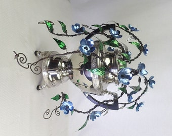 Wonderful Blue Forever Blooming Vine Growing Wildly From An Awesome Vintage Coffee Percolator