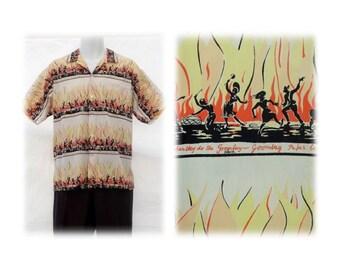 "RARE Vintage Calypso ""GOOMBAY"" Shirt w/Dancing Mams & Papas, Flames, Drums-Montego Bay-Cotton- sz LG"