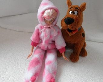 FOOTED Hooded PAJAMAS Barbie Skipper Fleece PJs Playsuit