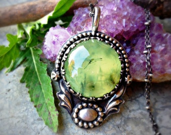 Eye of the Forest - Prehnite with Epidote Sterling Silver Handcrafted Necklace - Pendant - Green - Boho - Nature - Bohemian - Concho