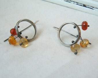 Sterling silver and fire opal beads Earrings - handmade earrings silver 925