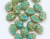 10 Barrel-Shaped Vintage Gold and Green Spacer Beads 8mm