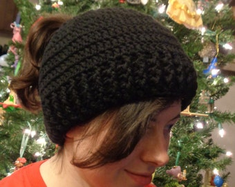 Ponytail Hat, Black Messy Bun Cap, Winter Wear by Charlene, Unisex Beanie, Gift for Teen, Present for Busy Mom, MADE TO ORDER by Charlene
