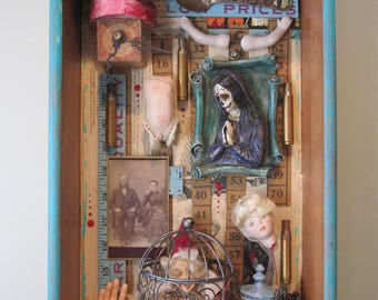 Mixed media assemblage, 3D art, shadow box, mixed media sculpture, found objects