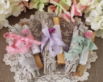 1 Set of 3 Cleansing Wands, White Sage, Palo Santo, Selenite, House Blessings