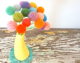 Pom pom flower bouquet - Rainbow colors - Wool felt balls - Small Pompom Blooms - Bright Floral -  Felted flowers - Dandelions Craspedia