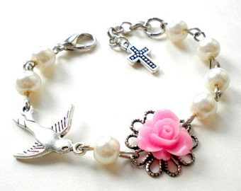 Gift For Babies Baptism Bracelet Baby Shower Gifts Goddaughter Baptism Gift Christening Bracelet Flower Girl Bracelet Newborn Pearl Jewelry